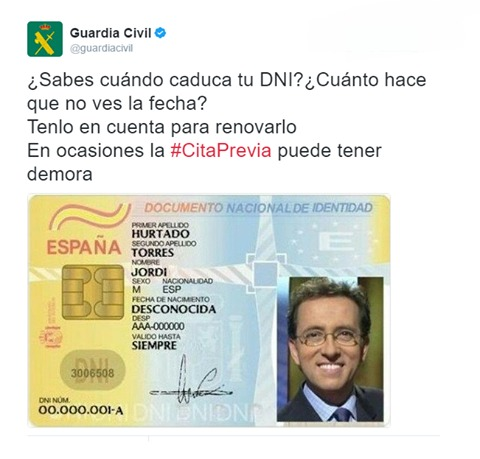 tweet guardia civil renovar dni foto de jordi hurtado