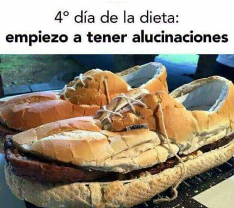 zapatilla de pan y hamburguesa - cuarto dia de la dieta empiezo a tener alucinaciones