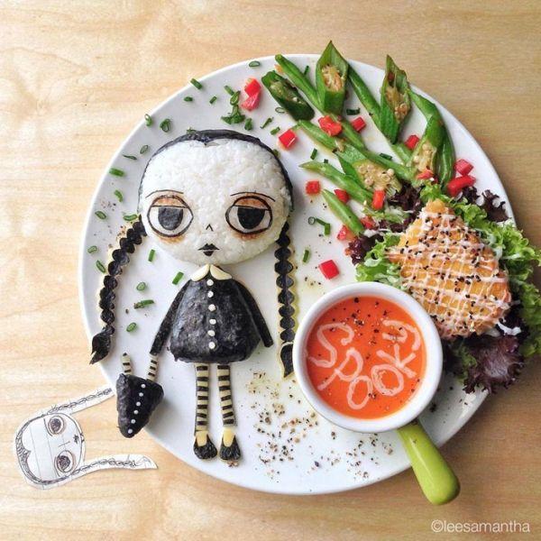 arte con comida familia adams