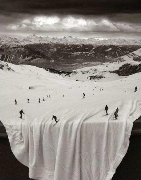 esquiadores sobre mantel
