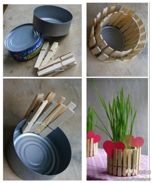Lata + Pinzas = florero reciclado