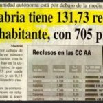 Cantabria, récord de reclusos con 131,73 por habitante