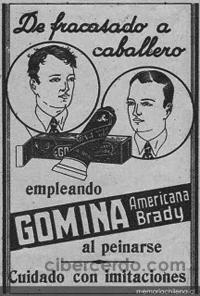 anuncio antiguo - de fracasado a caballero empleando gomina americana brady