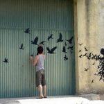 Graffiti – Pájaros saliendo de espantapájaros