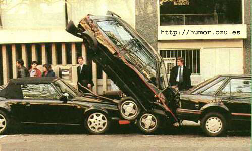 coche estacionado en vertical wtf