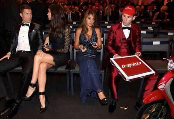 Cristiano Ronaldo y Leo Messi pizzero