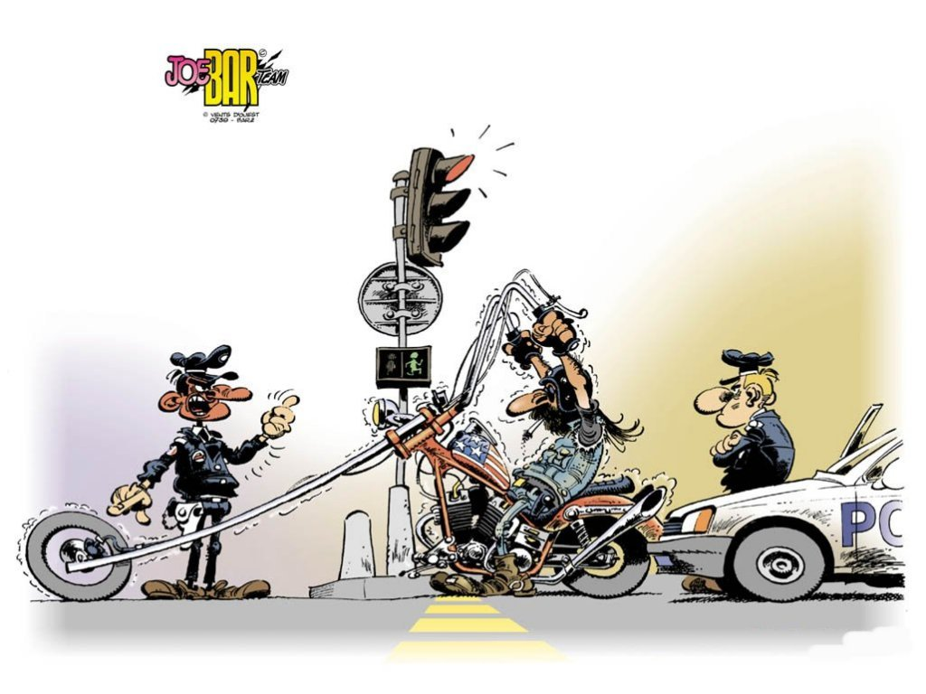 dibujo motero harley davison semaforo policia multa