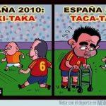 El juego de la selección española en 2010 y en 2014