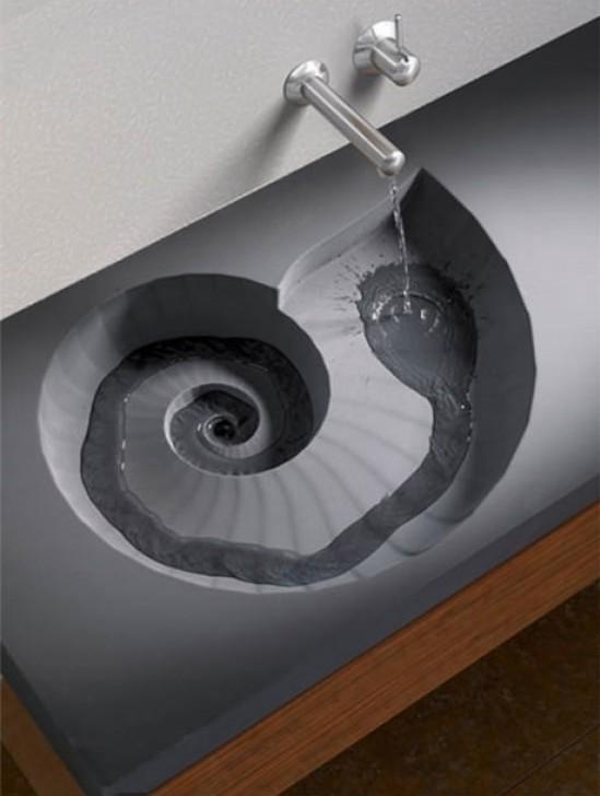 lavabo en forma de espiral