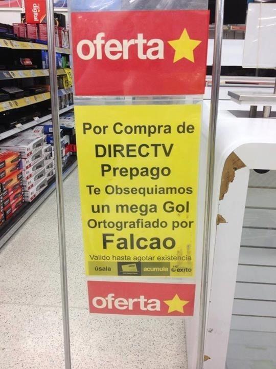 oferta por compra de directv prepago te obsequiamos un mega gol ortografiado por falcao