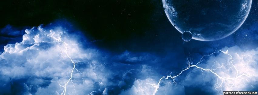 Portada Facebook - Universo, planetas y relámpagos