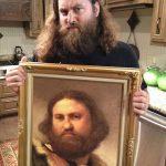 Retrato antiguo de señor con barba y su doble