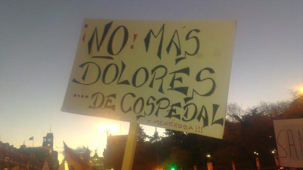 """Pancarta """"No más Dolores... de Cospedal"""""""