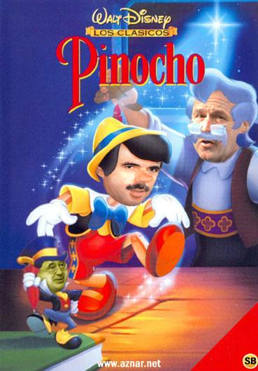 Parodia de carátula de Pinocho versión Aznar y Bush