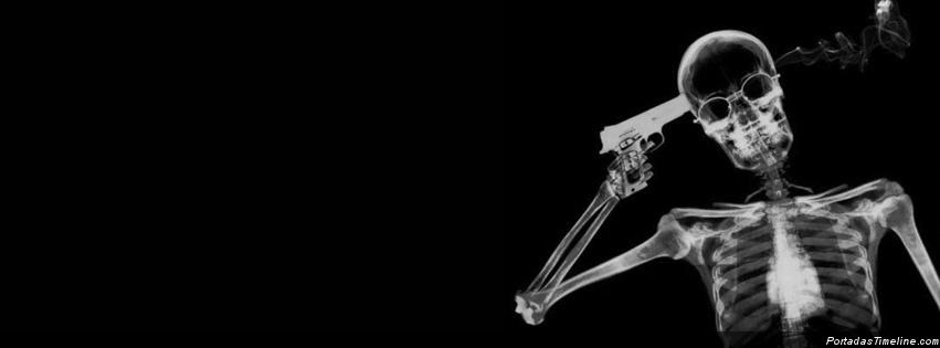 portada facebook esqueleto pegandose un tiro