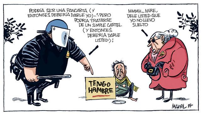 viñeta fontdevila mendigo cartel tengo hambre antidisturbios y anciana