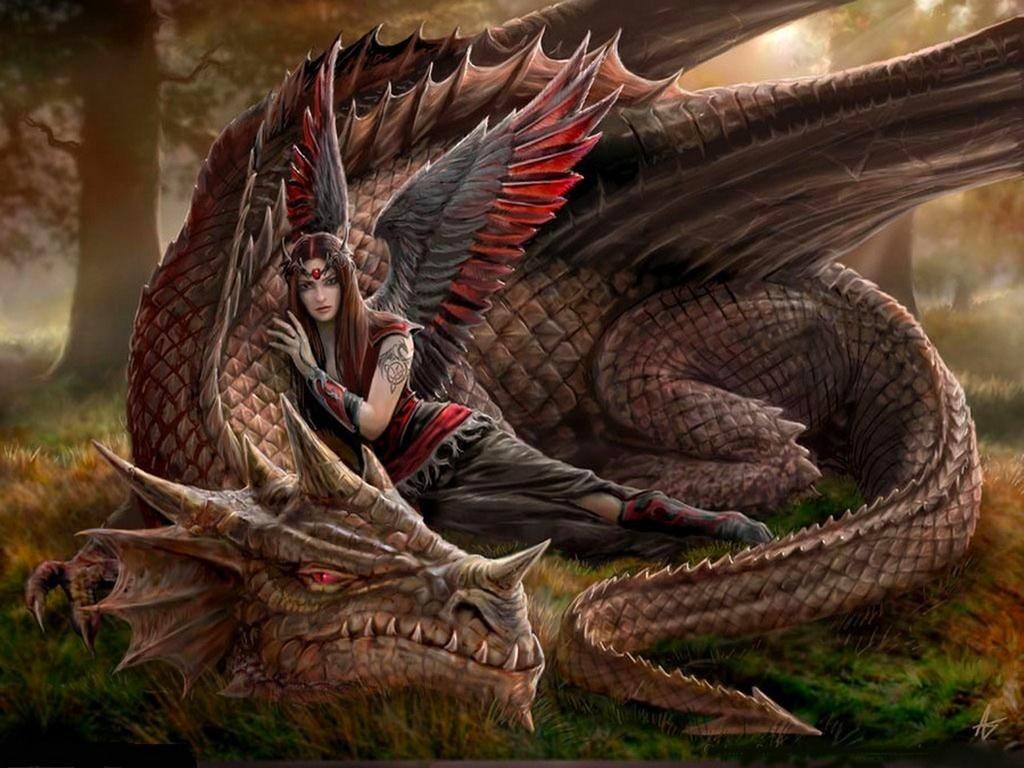 fondo dibujo fantasia dragon mujer angel