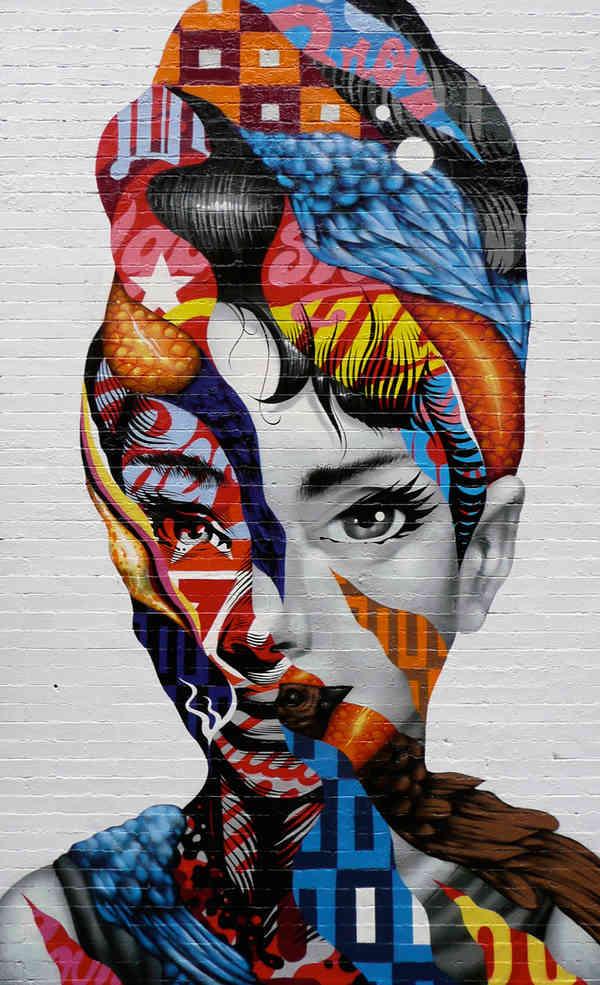 graffiti surrealista cara de chica decorada