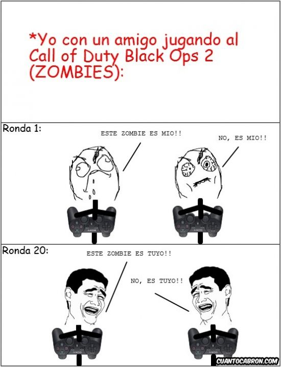 meme jugando al call of duty black ops 2 zombies ronda 1 ronda 120
