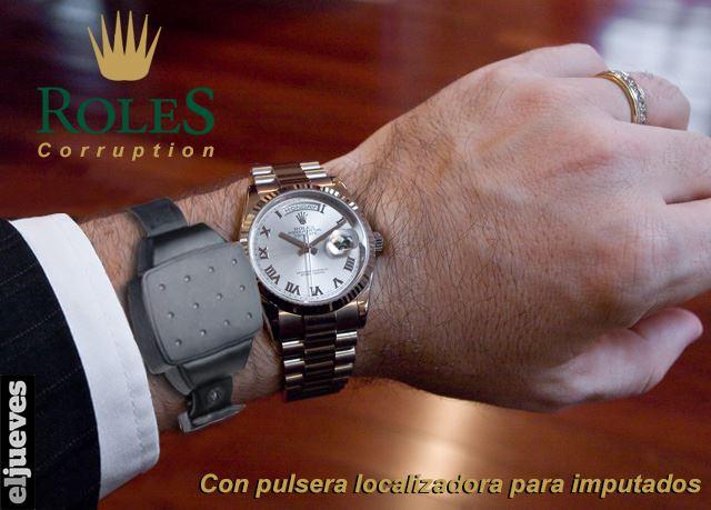 reloj roles corruption - con pulsera localizadora para imputados