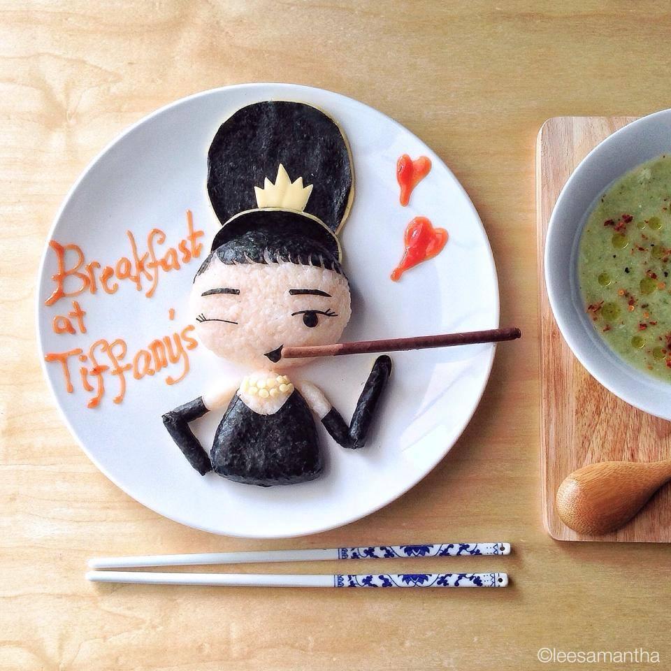 arte con comida audrey hepburn