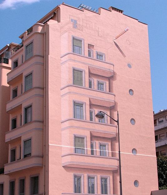 pared edificio pintada igual que la fachada