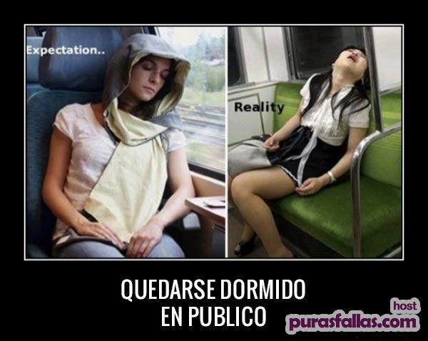 quedarse dormido en publico - expectativa vs realidad