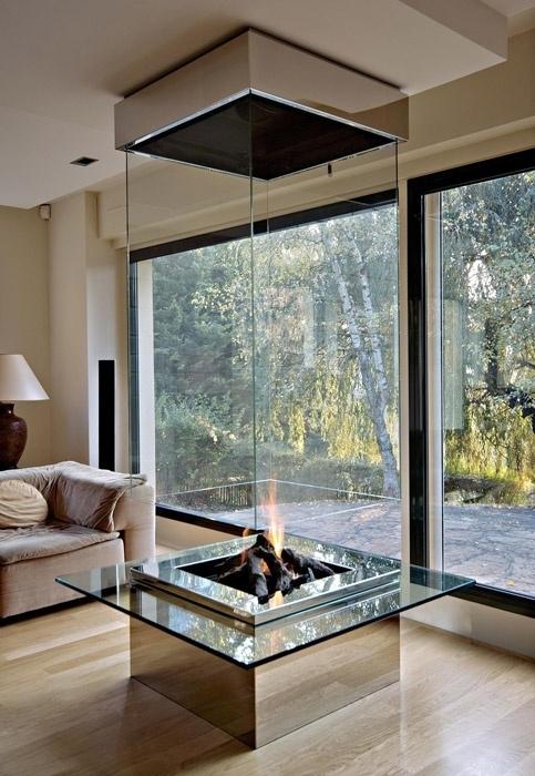 chimenea en vitrina decoracion