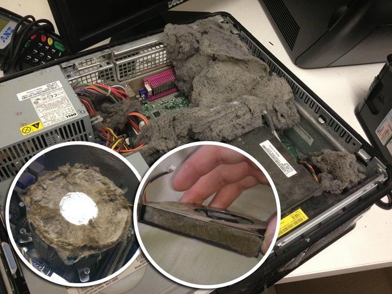 ordenador cpu lleno de polvo