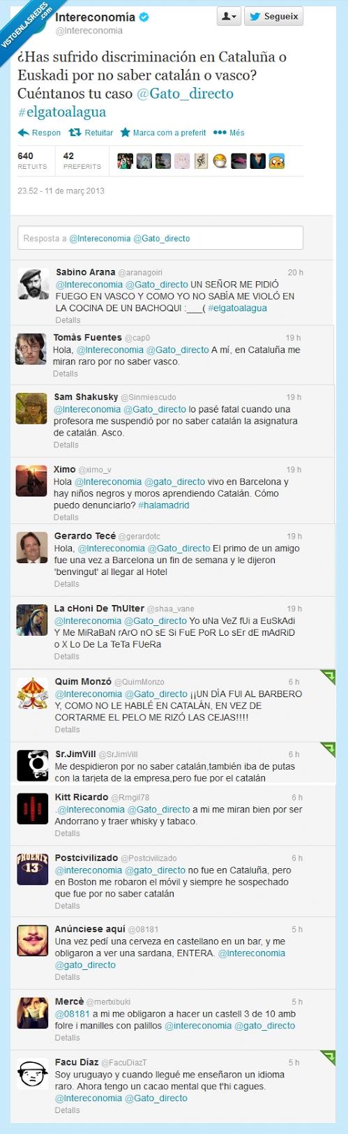 Intereconomía pregunta: '¿Has sufrido discriminación en Cataluña o Euskadi por no saber catalán o vasco?'. Reacciones