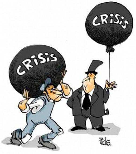viñeta crisis para el obrero y crisis para el rico
