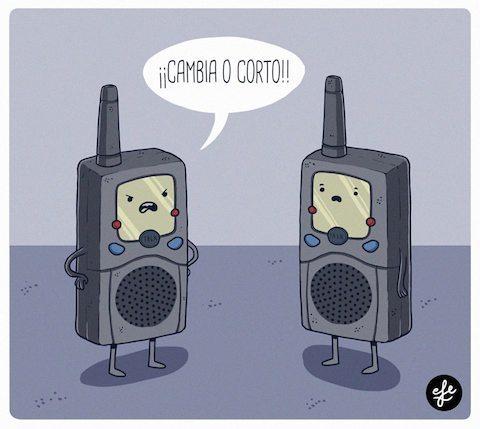 walkie talkies hablando cambio o corto