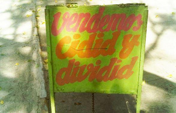cartel vendemos cidid y dividid