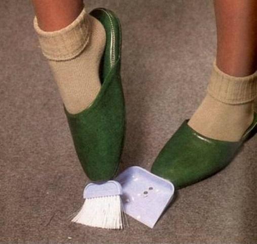 invento zapatillas con recogedor y escobilla