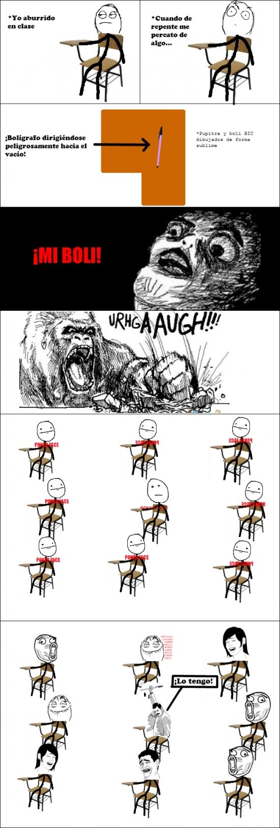 meme en clase boligrafo dirigiendose peligrosamente hacia el suelo
