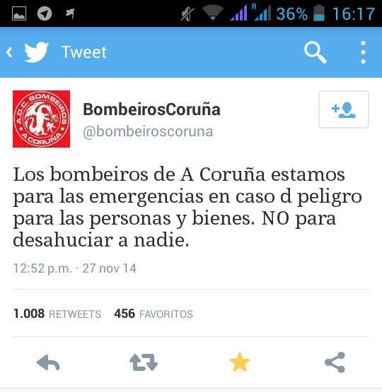 tuit bombeiroscoruna - los bombeiros de a coruna estamos para las emergencias en caso de pelibro