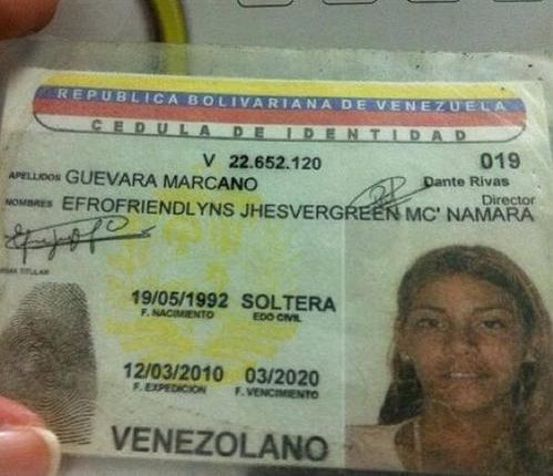 cedula de identidad venezolana - efrofriendlyns jhesvergreen mc namara