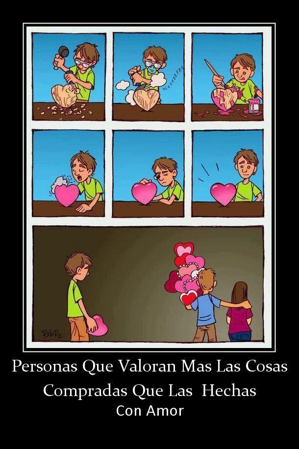 viñeta personas que valoran mas las cosas compradas que las hechas con amor