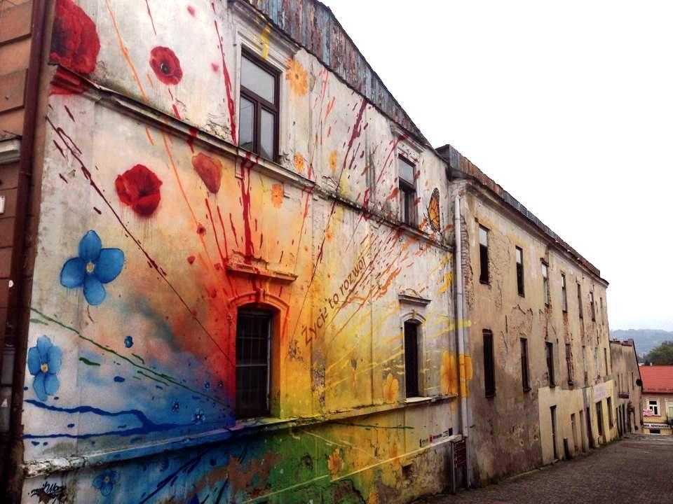 fachada pintada - flores y colores