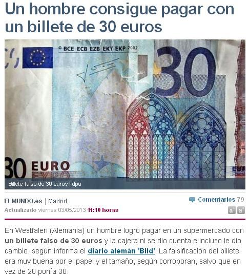titular un hombre consigue pagar con un billete de 30 euros