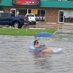 Disfrutando de la riada
