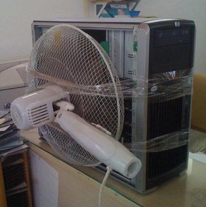 CPU con ventilador de mesa