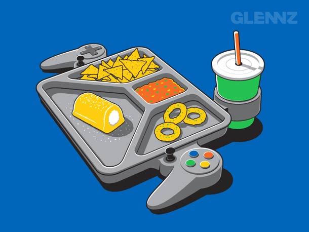 glennz - gamepad bandeja de comida