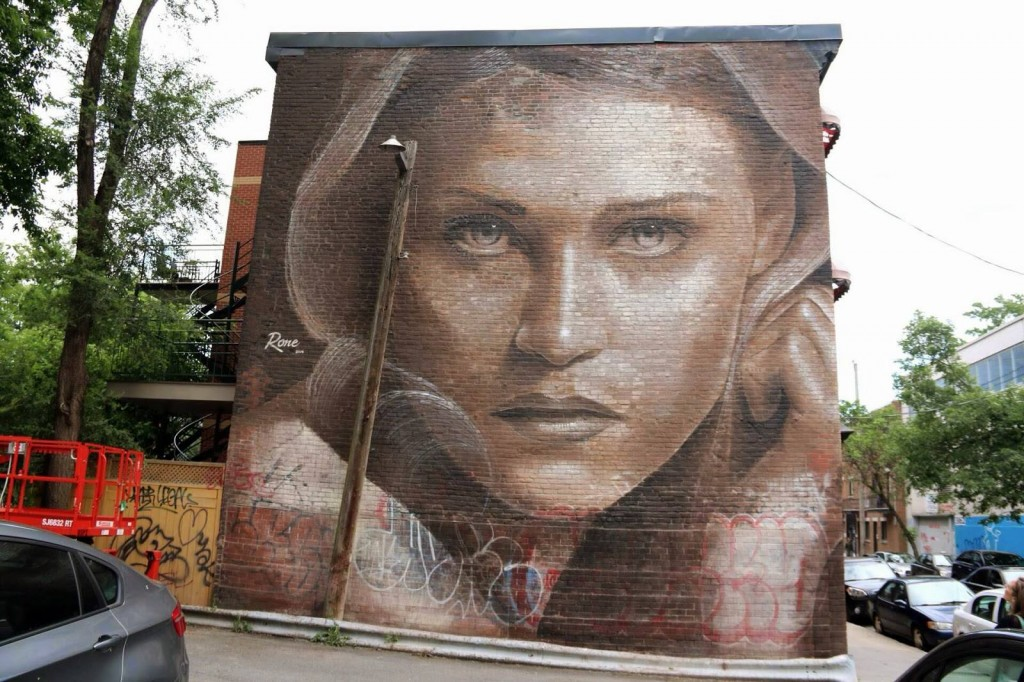 Impresionante graffiti con el rostro de una mujer