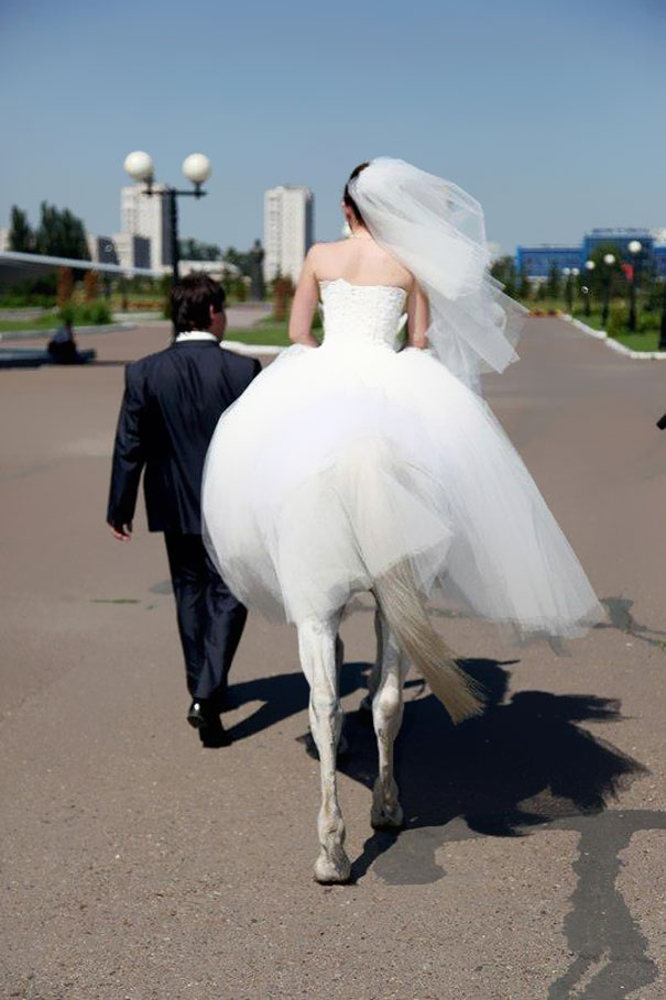 ilusion optica novia sobre caballo