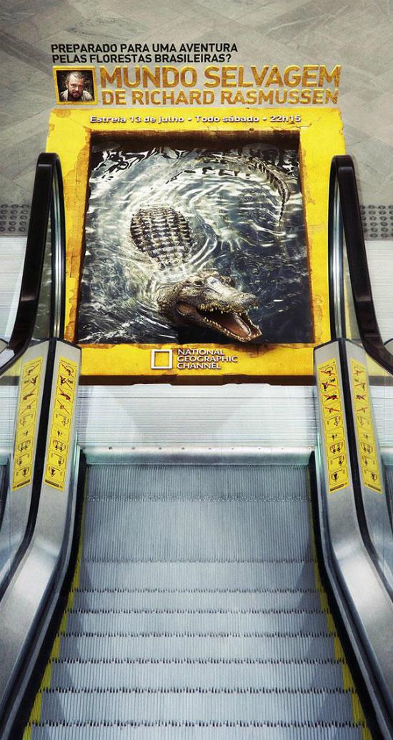 publicidad creativa - dibujo de estanque con cocodrilo bajo escaleras mecanicas