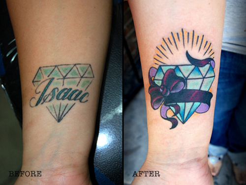 tatuaje diamante nombre isaac borrado
