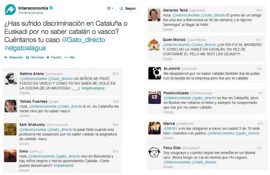 Encuesta de Intereconomía: ¿Has sufrido discriminación en Cataluña o en Euskadi por no saber catalán o vasco? Reacciones...