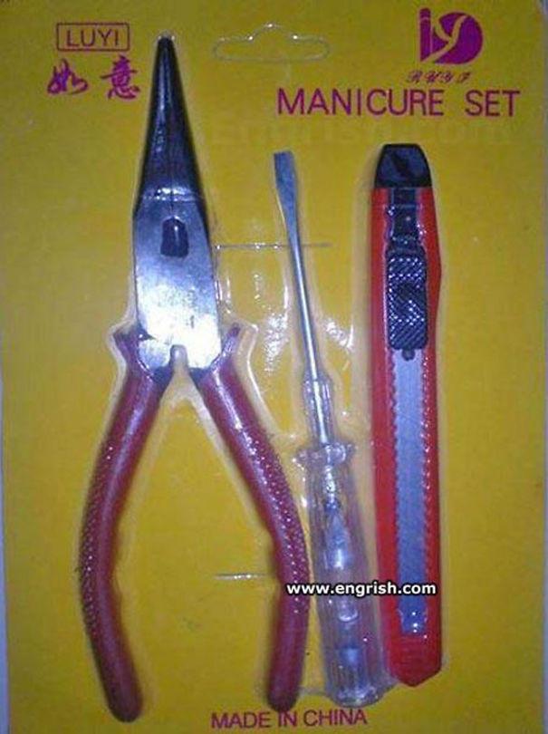 alicates, destornillador, cutter, set de manicura
