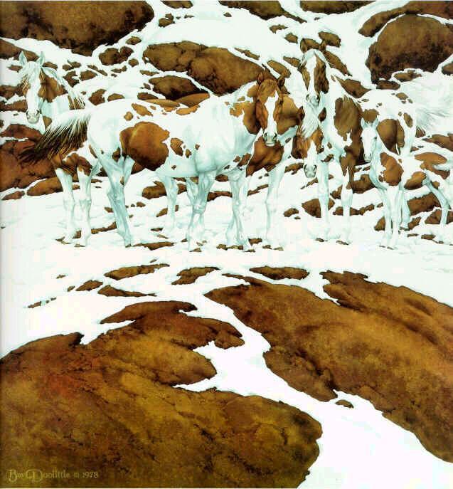 caballos camuflados en monte nevado